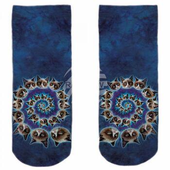 SO-L120 Motiv Socken blau weiß Katzen Spirale