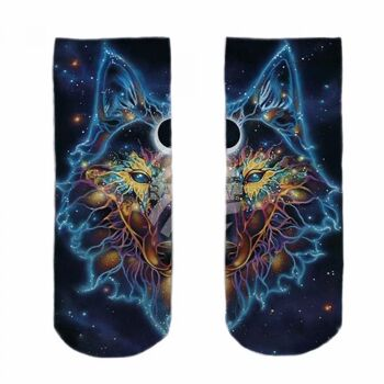 SO-L123 Motiv Socken Weltall Wolf multicolor ca. 37 - 40