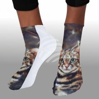 SO-L125 Motiv Socken multicolor neugierige Katze