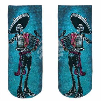 SO-L126 Motiv Socken blau weiß Mexikanisches Skelett Akkordeon