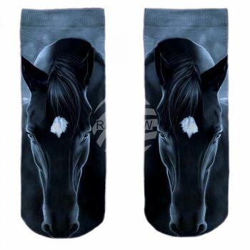 SO-L148 Motiv Socken blau weiß Pferd frontal