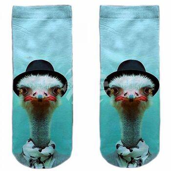 SO-L168 Motiv Socken blau weiß Strauß Hut