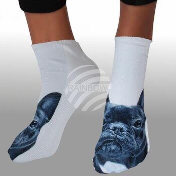 SO-L208 Motiv Socken Mops weiß ca. 37 - 40