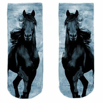 SO-L223 Motiv Socken weiß Pferd