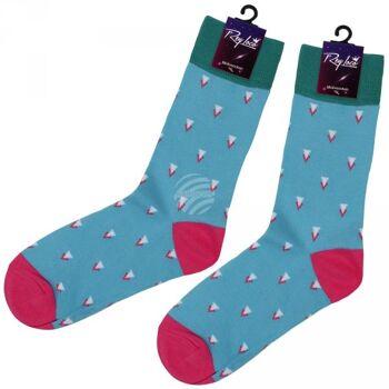 SO-XL001 Motiv Socken extra lang Dreiecke türkis