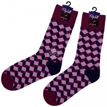 SO-XL009 Motiv Socken extra lang Zick Zack rosa