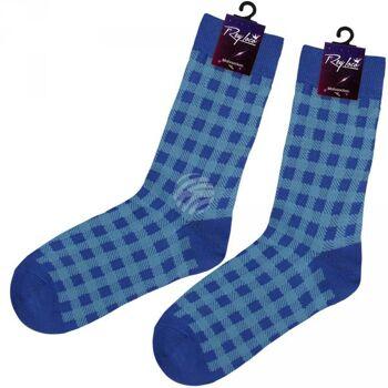 SO-XL028 Motiv Socken extra lang Tartan blau