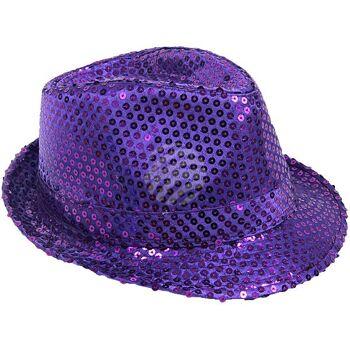 TH-60 Trilby Hüte Pailetten lila glitzert durch Pailletten