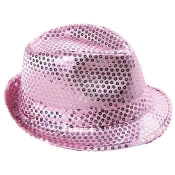 TH-63 Trilby Hüte Pailetten rosa glitzert durch Pailletten