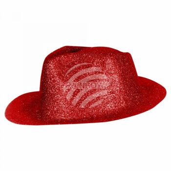TH-93 Trilby Hüte rot Hut glitzert