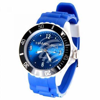 UR-254 Uhren Armbanduhren Städteuhren Fanartikel Hamburg blau Ø ca. 4,4 cm