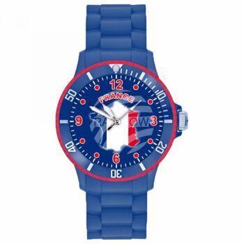 UR-FRA Uhren Armbanduhren Länderuhren Frankreich blau Ø ca. 4,4 cm