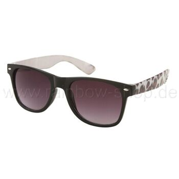 V-1015 Retro Vintage VIPER Damen und Herren Sonnenbrille Leopardenlook schwarz weiss