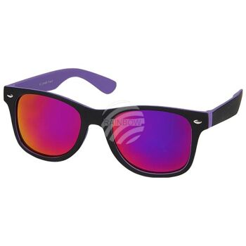 V-1235 VIPER Damen und Herren Sonnenbrille Form: Vintage Retro Farbe: schwarz, Innenseite farbig sortiert, Zierniete