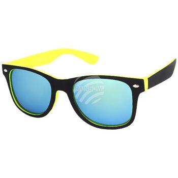 V-1236 VIPER Damen und Herren Sonnenbrille Form: Vintage Retro Farbe: schwarz, Innenseite gelb, Zierniete