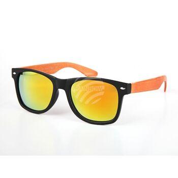 V-1241 VIPER Damen und Herren Sonnenbrille Form: Vintage Retro Farbe: farbig sortiert, Holz Look, schwarze Fassung