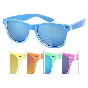 V-1328 VIPER Damen und Herren Sonnenbrille Vintage Retro Zweifarbiger Rahmen mit Applikation