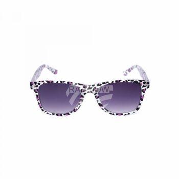 V-1411 Retro Vintage Nerd Blues VIPER Damen und Herren Sonnenbrille Leopardenmuster weiss mit farbigem Muster