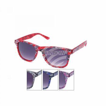 V-1417 Retro Vintage Nerd Blues VIPER Damen und Herren Sonnenbrille Rosen mehrfarbig