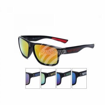 V-1437 Retro Vintage Nerd Blues VIPER Damen und Herren Sonnenbrille Farbiger Aufdruck VIPER schwarz
