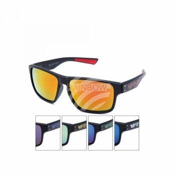 V-1439 Retro Vintage Nerd Blues VIPER Damen und Herren Sonnenbrille Farbiger Aufdruck VIPER schwarz