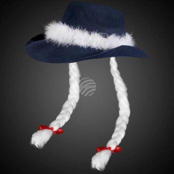 WM-26 Weihnachts-Cowboyhut blau mit langen weissen Zöpfen