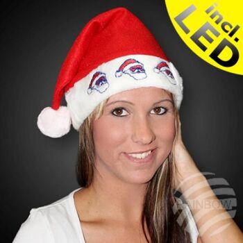 WM-57 Weihnachtsmütze rot Motiv: Nikoläuse