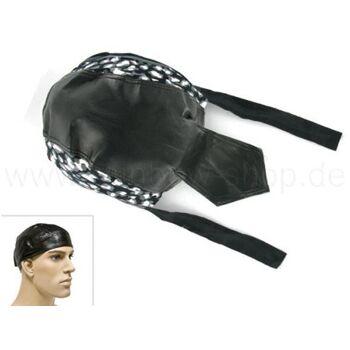 ZAL-053 Zandana, Leder Optik Biker Kopftuch Design: Fleckenmuster Farbe: schwarz, weiss, grau