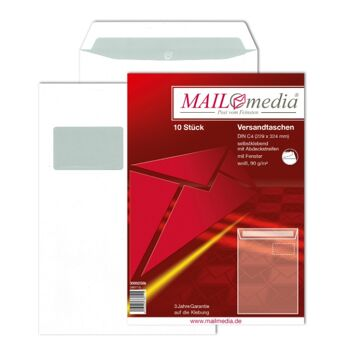 12-002508, Versandtasche 10er Pack, C4 229 x 324, Fe Offset weiß 90g, mit Fenster, Versandtaschen