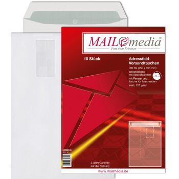 12-002546, Adressfeld Versandtasche 10er Pack, B4 250 x 353 Offset weiß 120g, Fenster HK Adressfeldtasche, Versandtaschen