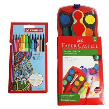 12-993239262, REWE Posten Faber Castell Farbkasten mit Pinsel, Stabilo Pen 68 12er Pack Etui