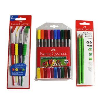 12-993239288, REWE Posten Faber Castell Pinselset, Bleistift Jumbo, Doppelfasermaler