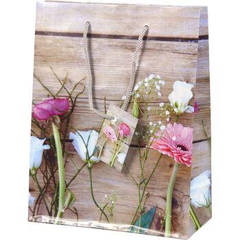 28-671335, Geschenktasche Ostern 23 x 18 cm, elegantes Blumenmotiv, Geschenktüte, Geschenkbeutel
