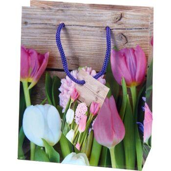 28-671440, Geschenktasche Ostern mit elegantem Blumenmotiv
