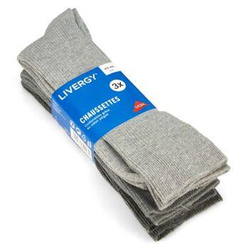 28-700231, Herren Rippsocke 3er Pack, Gr. 39/42 -43/46, Socken mit Komfortbund ohne Gummi