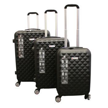 Kofferset 3 tlg. schwarz