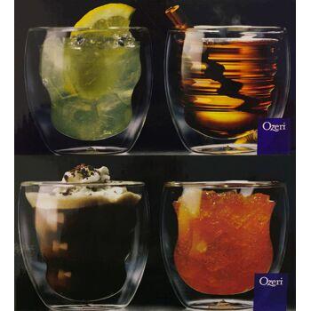 Ozeri DW080AS Doppelwandige Thermogläser Curva mit Schwebeeffekt Set mit 4 Gläsern 0,2 L Glas Gläser Trinkglas Trinkgläser Thermoglas