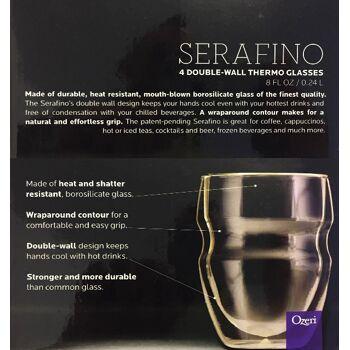 Ozeri DW080S Doppelwandiges Thermoglas Serafino mit Schwebeeffekt Glas, 4er-Set 0,24 L Trinkglas Trinkgläser Thermoglas isoliert Thermo