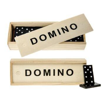 Holz Domino Spiel in Natur Holzbox, Gesellschaftsspiel, Familienspiel, Reisespiel