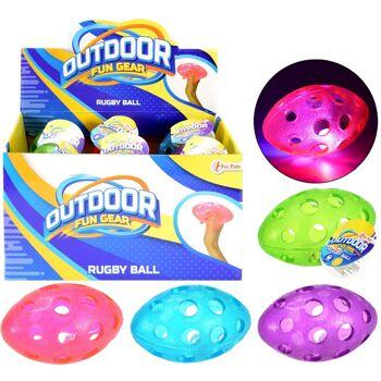 28-670059, Rugby Ball mit LED Licht, blinkt beim Spielen, auch Wasserball, Beachball, Strandball, usw