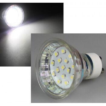 LED Strahler GU10 ''H10 SMD'' 15 SMD LEDs, 6000k, 60lm, 120°, 230V/0,75W, weiß