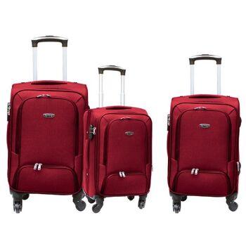 Reisekoffer Set Kofferset Reise Koffer Set 3 tlg mit 360 ° Rollen und Schloss - Verkaufsschlager 400 D Polyester Qualität Rot