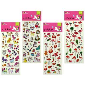 27-80558, Stickerbogen Flamingo und Einhorn, Stickerkarte