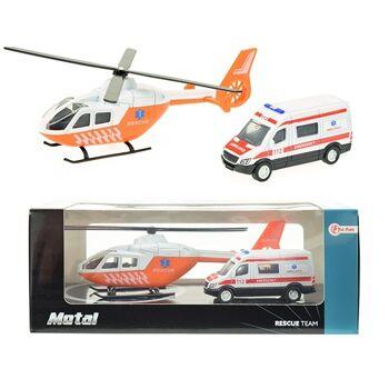 27-47513, Metall Rettungshubschrauber mit Krankenwagen