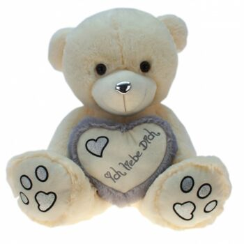10-137150, Plüsch Bär 60 cm sitzend, mit Herz
