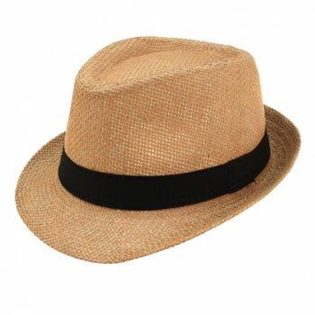 10-542580, Fedora Hut Stroh mit schwarzem Band, Sommerhut, Beachhut, Partyhut, usw