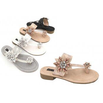 Damen Woman Sommer Trend Sandalette Strass Blumen Glanz Sparkle Zehentrenner Schuh Shoes Business Freizeit nur 9,90 Euro