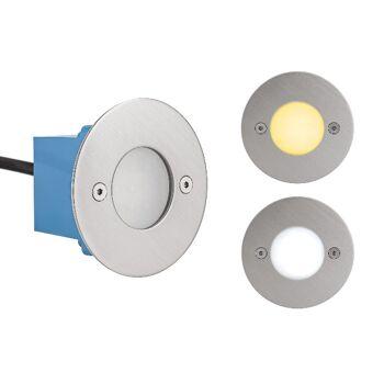 50x LED Treppenleuchte LED Wandeinbauleuchte IP44 Rund / Eckig 3.000 Kelvin Warmweiss / 6.500 Kelvin Kaltweiss