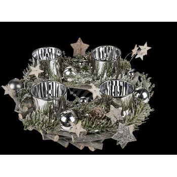 Adventskranz aus Holz & Tannenzweigen mit 4 Glas-Teelichthaltern, ca. 23 x 9 cm, 216/PAL