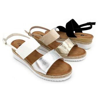 Damen Woman Sommer Trend Keil Sandalette Metallic Glanz Sparkle Slipper Schuh Shoes Business Freizeit - 9,90 Euro
